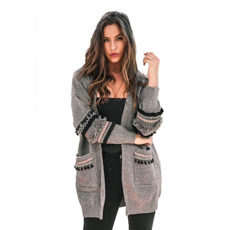 4129b13480 Casual Patchwork Long Sleeve Pockets Long Cardigan Female Autumn Winter  Fashion Plus Size Knitted Sweater Women ...