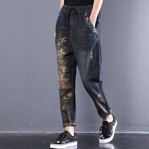New Summer fashion tide blue  big size loose unilateral embroidered washed denim pants women QC432