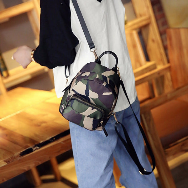 New Spring Women Nylon Mini Backpack Girls Fashion Camouflage School Bag Ladies Multifunction Travel Small Rucksack
