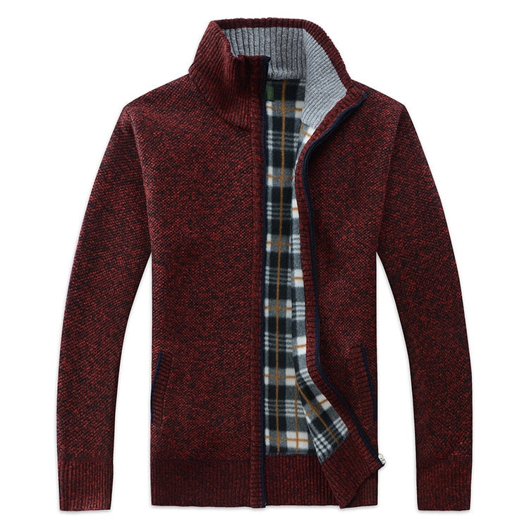 Autumn Winter Casual Men's Jackets And Coats Plus Velvet Thickening Classic Knitting Jacket Outerwear New Arrivals