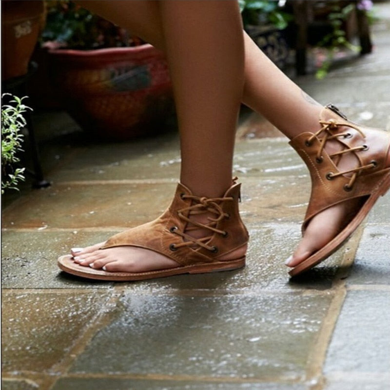 Women Sandals Vintage Summer Women Shoes Gladiator Sandals Flip-Flops For Women Beach Shoes Leather Flat Sandalias Mujer