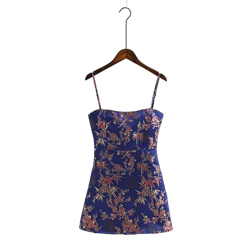 Floral Bodycon Dress Sexy Sleeveless Backless Party Mini Dresses