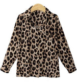 Women Blouse Leopard Print Shirt Long sleeve Turn-down Collar Top Loose Blouses Plus Size Camisa Feminina Clothing