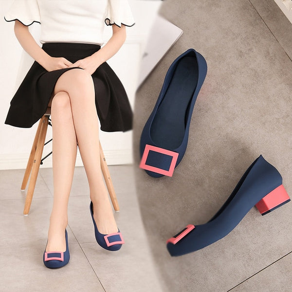New Fashion Mid Heels Women Pumps Woman Round Toe Sexy Wedding Shoes Ladies Leather Work Shoes Free Shipping