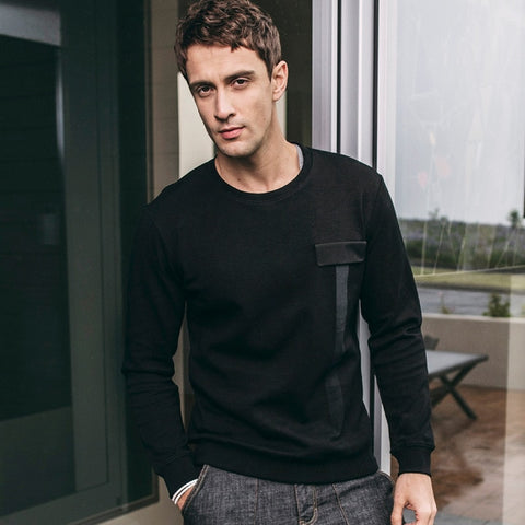 Autumn Men Sweatshirt Cotton Patchwork Solid Black Pullovers For Man Casual Slim Fit Clothes New Male Wear Tops Tracksuits