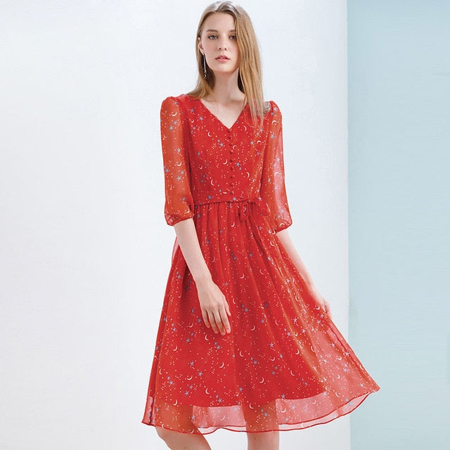 wholesale price stable quality designer fashion Red Chiffon Dress Slim Elegant Autumn Sweet Party Dresses Printed ...