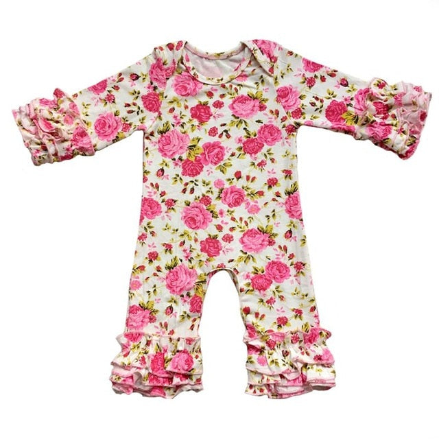 216147a9ae0 ... popular colors olive plum peacock mustard wholesale baby gowns clothes  cotton long sleeve Triple icing ruffle