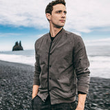 Autumn Men Jacket Button Pocket Solid Gray Color Clothing For Man Slim Fit Flight Jacket 2018 New Male Wear Outdoor Coat 08923