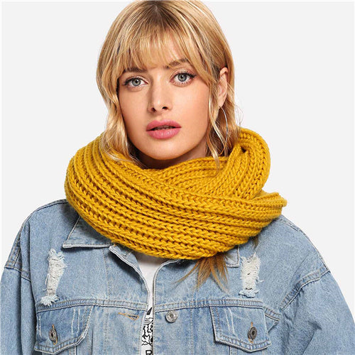 Yellow Modern Lady Casual Knit Infinity Scarf New Autumn Winter Workwear Acrylic Base Warmth Scarfs