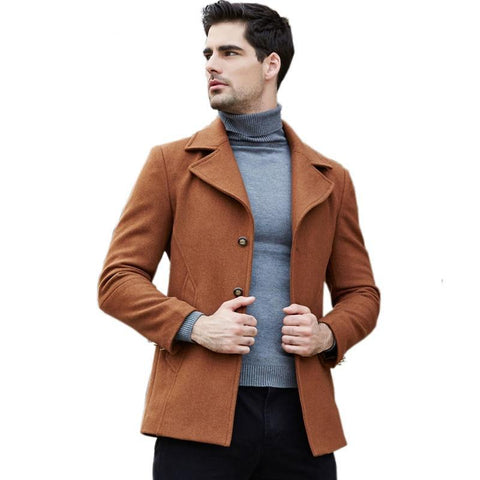 New Winter Wool Coat Men Long Sections Thicken Woolen Coats Men Casual Fashion Jacket Trench Casaco Masculino Windbreaker