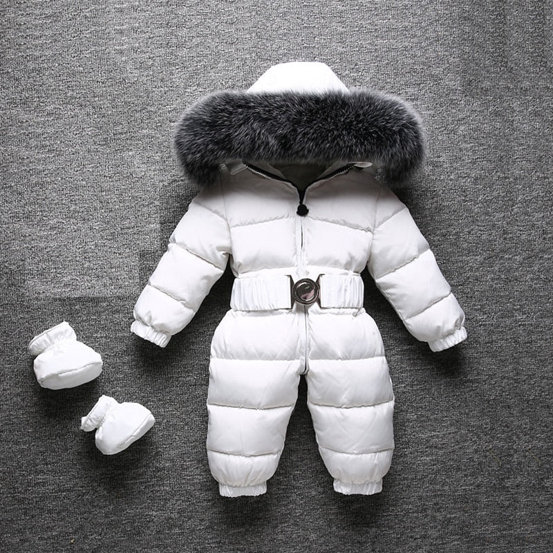 0018c599dcc2 Winter Warm Baby Rompers Jumpsuit Children Duck Down Overalls ...