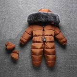 Winter Warm Baby Rompers Jumpsuit Children Duck Down Overalls Toddler Kids Boys Girls Outdoor Fur Hooded Romper Clothes