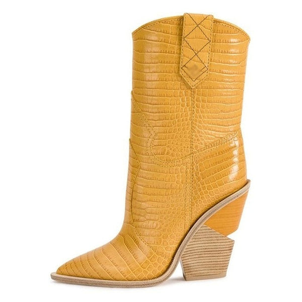 fashion embossed microfiber leather women ankle boots pointed toe western cowboy boots women mid-calf chunky wedges boots runway