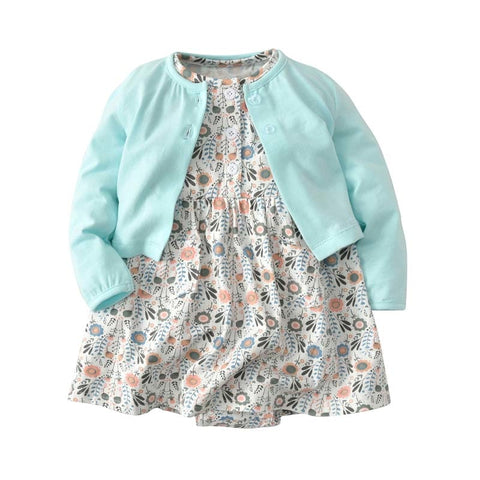 New Spring Infant Baby Girl Dresses Cotton Long-Sleeved cardigan + Floral Dress 2pcs Cute Children girls clothes