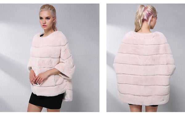 Real Rex Fur Cape Women Clothes Fashion Pullover Natural Real Fur Coat Warm Leather Jacket Women