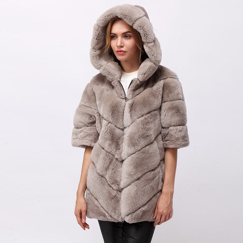 Short real Rex rabbit fur jacket with hood
