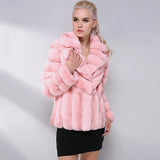 Fashion Short Natural Rex Rabbit Fur Coat Latest Color Suit Collar Fur Jacket Winter Real Fur Coat Women Leather Jacket