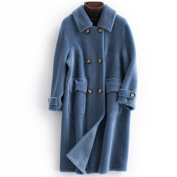 100% Wool Jacket Autumn Winter Coat Women Clothes Real Fur Coat Sheep Shearling Fur Long Coats  Lining ZT812