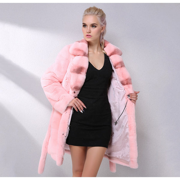 Latest Fashion Color Rex Rabbit Fur Coat Warm Soft Natural Real Fur Coat Women Clothes Winter Fur Jacket Women Tops Coat