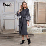 Capped Woman Winter Fashion Style Genuine Natural Long Coat With Silver Fur Sleeve Camouflage Park With Natural Fur