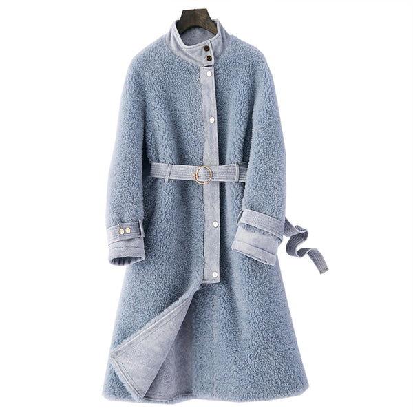 Real Fur Coat Autumn Winter Jacket Women Clothes Shearling Fur Wool Jacket Slim Fit Long Coat Women Tops ZT616