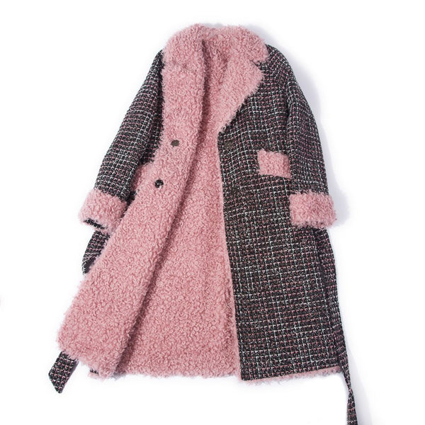 Real Fur Coat Women Autumn Winter 100% Woolen Coat with Belt rf0207