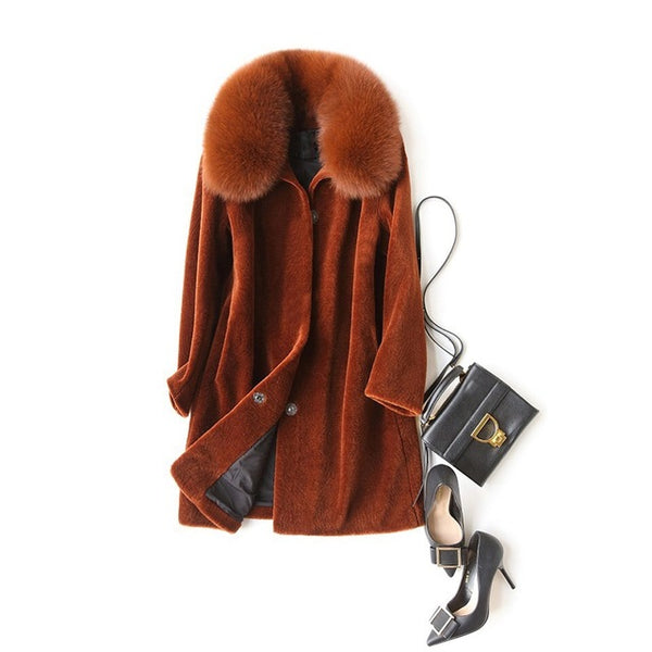 women's winter warm genuine wool fur with real fox fur collar hood coat lady  coat jacket overcoat