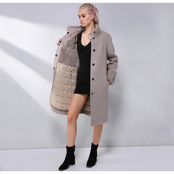 Fashion Cashmere Coat 90% Wool Blend Winter Real Fur Coat Women Collar With Mink Fur Lining Removable Real Fur Jacket
