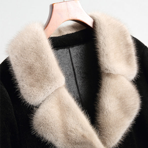 Autumn Winter Coat Women Clothes Mink Real Fur Coat 100% Wool Jacket Vintage Sheep Shearling Fur Suede Linling ZT919
