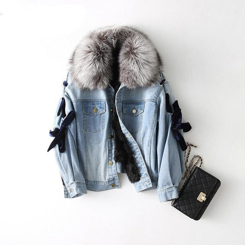 women's winter warm genuine fox fur parka coat with wool fur inside coat lady  coat jacket overcoat