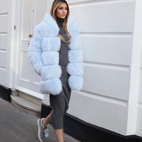 Full sleeve natural fox fur hooded coat for women runway style gorgeous real fur jacket winter outwear