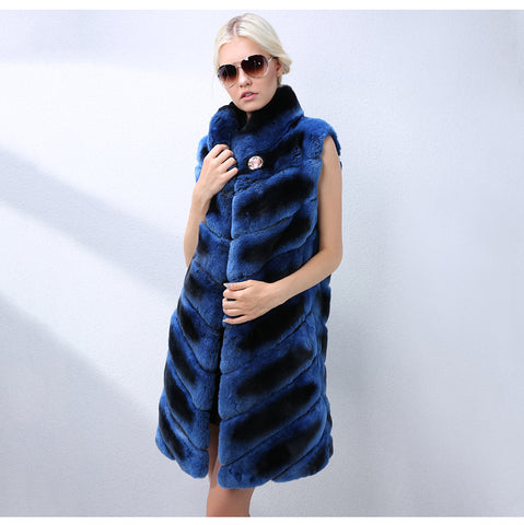 New Fashion Women Natural Real Fur Vest Latest Fashion Color Long Rex Rabbit Fur Vest Real Fur Coat Winter Jacket Women
