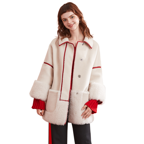 Wool Jacket Real Fur Coat Sheep Shearling Fur Winter Jacket Women Clothes 2018 Korean Elegant Slim Fit Coats Abrigo Mujer ZT557