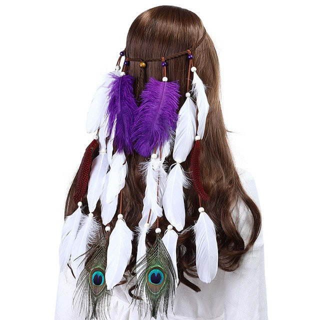 Boho White Red Pink Feather Headband Women Festival Wedding Headwear Gypsy Feather Rope Crown Headdress Hair Accessories