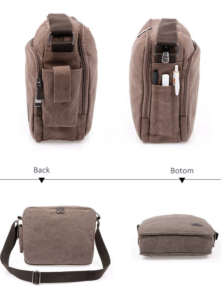 Canvas Multifunction Messenger Shoulder Bags Solid Briefcases Suitcase Card Pocket For Men Women Office Outdoor Travel