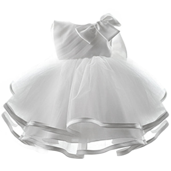White Baby Girl Pageant Wedding Dress Kids Party Vestido Clothes Elegant Tutu Baby Girl 1 Year Birthday Dress Little Girl Frocks