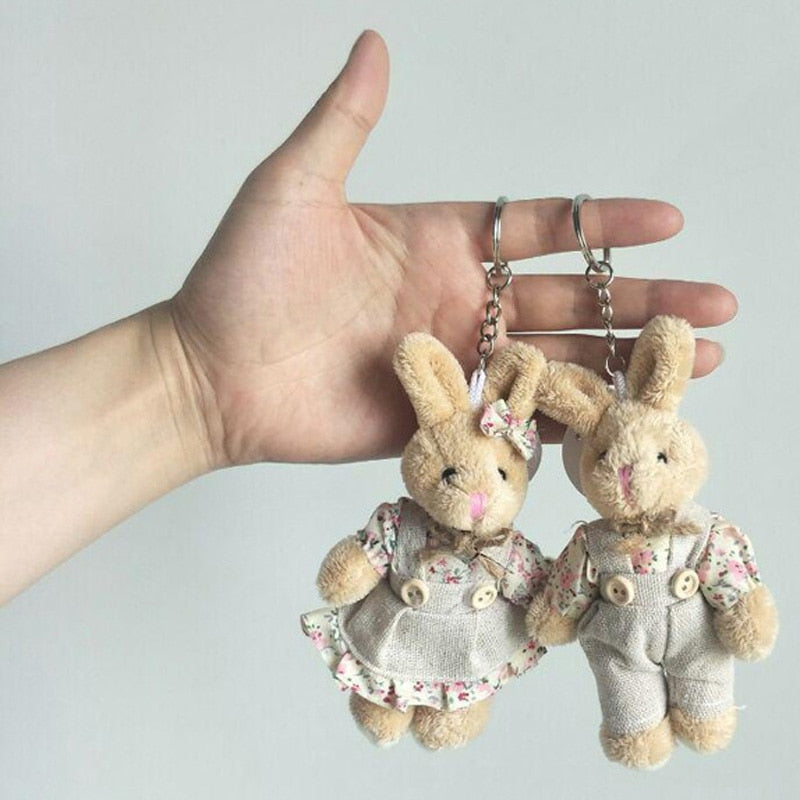 2PCS/LOT Teddy Bear&Rabbit Couple Plush Toy Stuffed Animal Soft Doll Bears Stuffed Plush Pendant Wedding Gifts GMR020