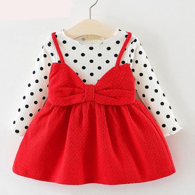 97fab61de554e Bear Leader Baby Girls Dress Black and White Stitching Sleeve Small ...