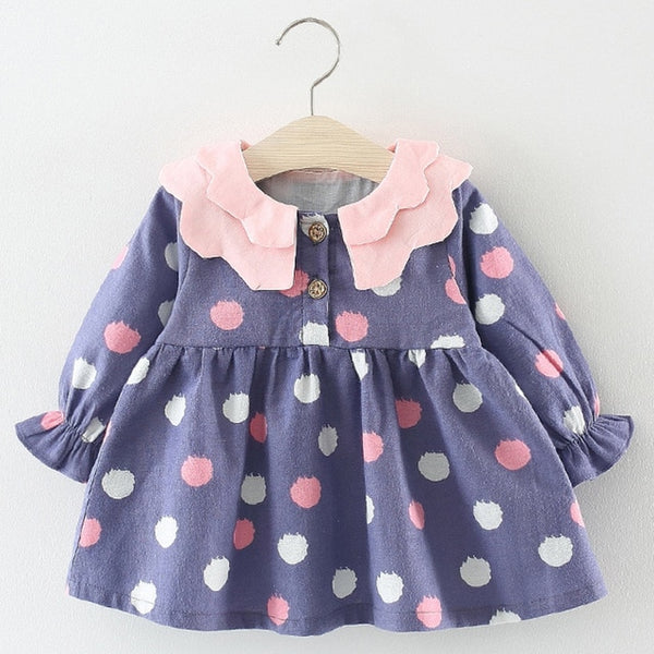 Bear Leader Baby Girls Dress Black and White Stitching Sleeve Small Bow Princess Dress Children Clothing Newborn Lovely Dresses