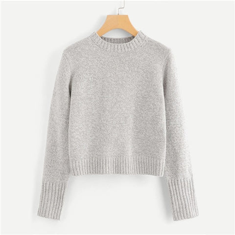 e12ca06f2c Grey Lace Up Back Knit Sweater Women Casual Autumn Winter Plain Long Sleeve  Clothing Female Pullovers