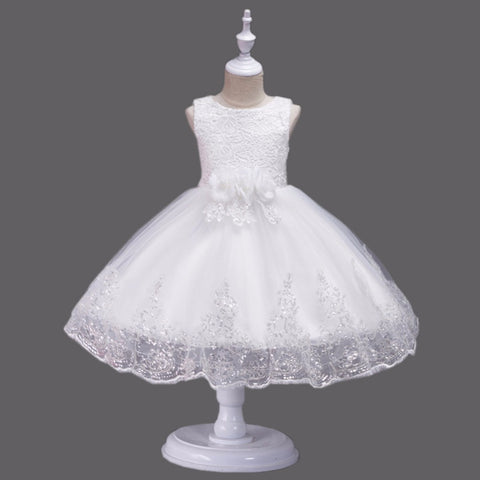 Baby Girl Clothes Weddings Dress Pageant First Birthday Lace Embroidery Flower Girl Communion Sequin Children Bridesmaid Gown