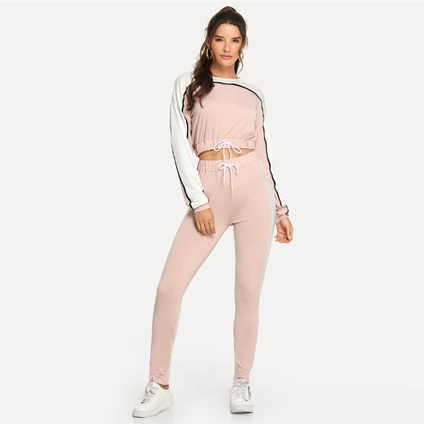 Pink Two Tone Drawstring Top With Pants Women Casual Trending Products Autumn Fashion Female Sporty Two-piece Outfits