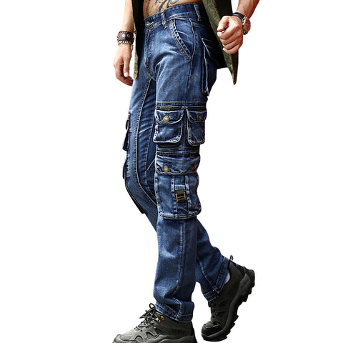 Men's Brand Cargo Jeans Multi Pockets Tactical Denim Pants High Quality Male Outdoor Casual Jeans x1647