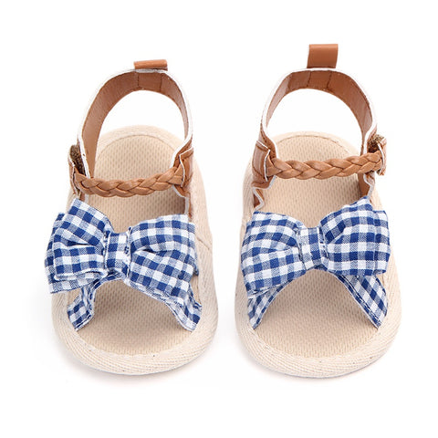 Sandals Girls Baby Shoes Newborn Summer Cotton Cloth Lattice Cute Baby Girl Sandals Fashion Plaid Princess Baby Sandals