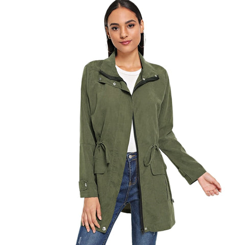 Army Green Solid Drawstring Waist Coat Women Clothes 2018 Autumn Casual Outerwear Womens Jackets Casual Female Coats