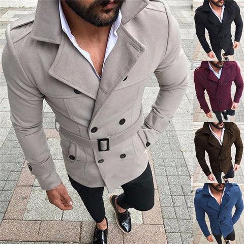 Men's Winter Wool Warm Turn-down Collar Trench Reefer Jackets Double Breasted Peacoat Overcoat Fit Outwear