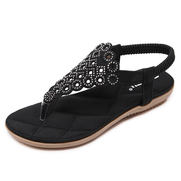 Arrival Fashion Sandals Rhinestone Flats Bohemia Women Summer Style Shoes Women Flat Flip Flops Plus Size 35-41