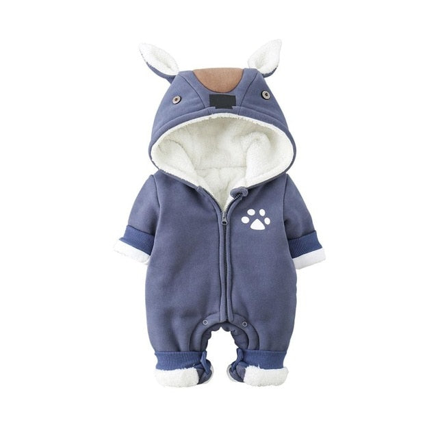 e360d782d6b JOHNKART.COM.  39.79 USD. Newborn Baby Boy Rompers Winter Baby Girl Clothes  Thicken Cartoon Animal Snowsuit Warm Fleece Hoodie Infant ...