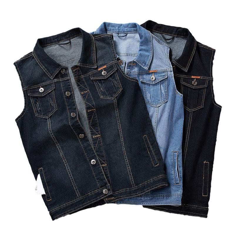 really cheap cheap for sale aliexpress Classic Denim Vest Men Sleeveless Jean Jacket Vests Turn-down Collar  Waistcoat For Men Big and Tall Plus Size M-8XL
