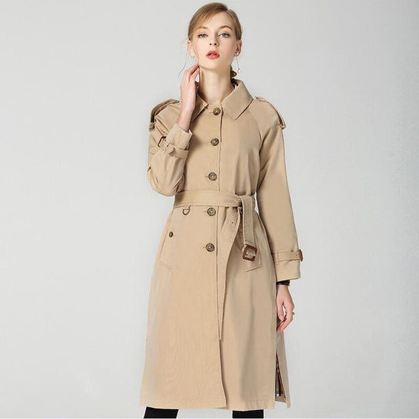 Autumn Winter New Fashion Luxury B Brand Waterproof Elegant Vintage Classic Plaid Womens Long Trench female coat